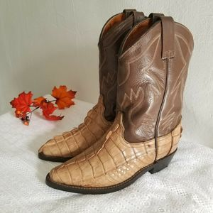Longhorn  Alligator Skin and Leather Cowboy Boots